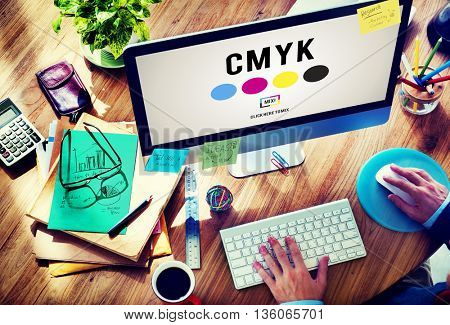 CMYK Color Printing Ink Color Model Concept