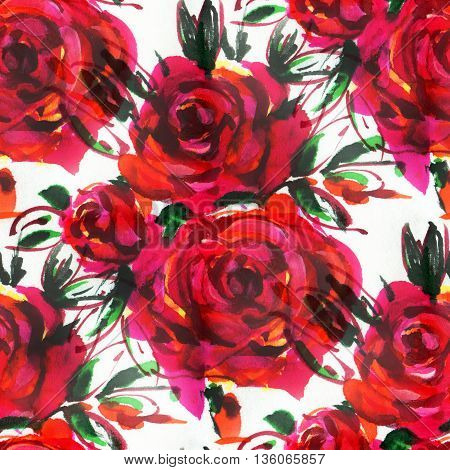 Seamless pattern with red roses. Hand-drawn illustration. Watercolor.