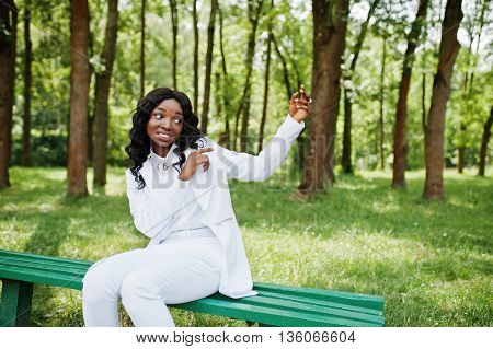 Black African American Girl Gesture Showing Something In The Air