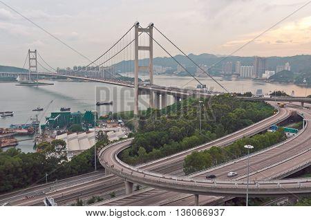 Beautiful Of Tsing Ma Bridge The Highway Road In Hong Kong