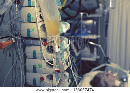 Terminally ill patient in the intensive care unit.