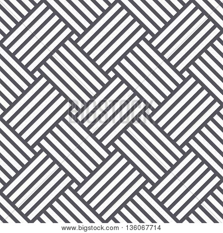 Vector seamless pattern. Black and white background with stripes.