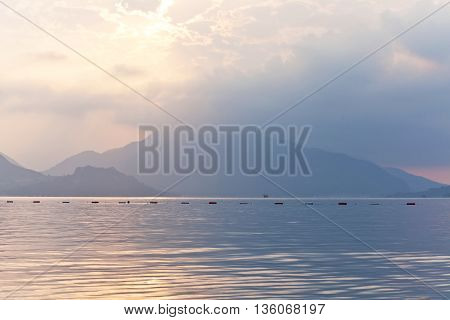 Sunrise view of the Aegean Sea and the rocky mountains. Marmaris. Turkey.
