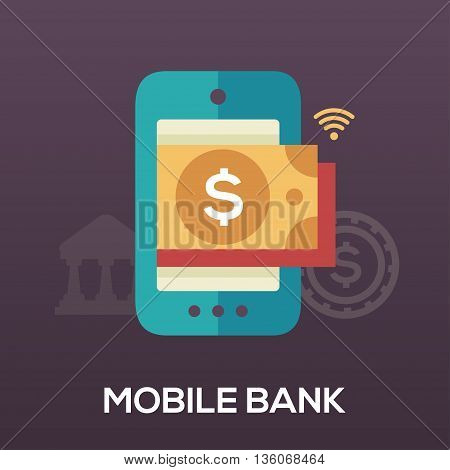 Mobile Bank single isolated modern vector flat design icon with a mobile device and a dollar bill inside the display