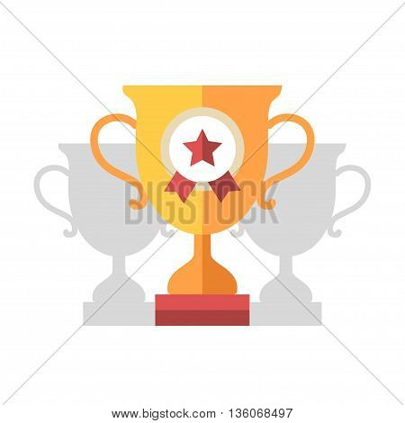 Award Cup single isolated modern vector flat design icon with a champion cup and a star badge on it