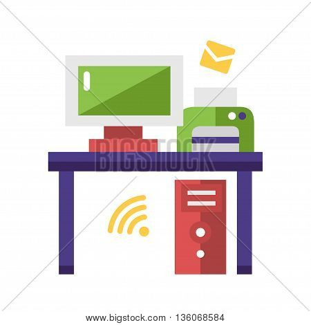 Work Place single isolated modern vector flat design icon with a desk, computer and printer