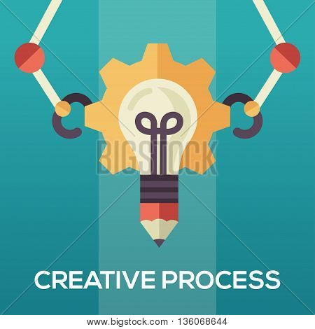 Creative Process single isolated modern vector flat design icon with an idea bulb and mechanic arms