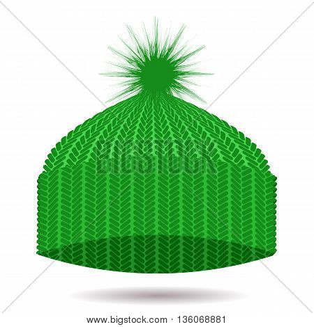 Green Knitted Cap Isolated on White Background. Winter Hat