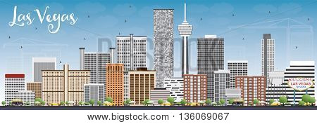 Las Vegas Skyline with Gray Buildings and Blue Sky. Vector Illustration. Business Travel and Tourism Concept with Modern Buildings. Image for Presentation Banner Placard and Web Site.