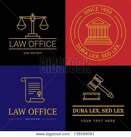 Law office logo collection. The judge, Law firm logo template, lawyer set of vintage labels. Line badges hammer, roll and scales Themis. Dura lex, sed lex quote.