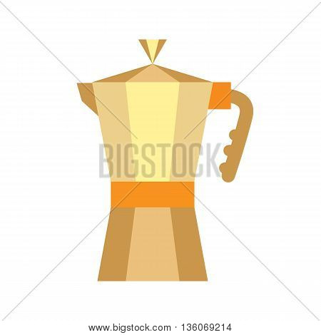 Gold Coffee Maker Isolated On White background. European flat coffee pot icon. Shiny traditional vintage metal object