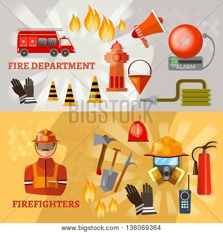 Professional firefighters banners fire safety equipment fireman fire hydrant fire alarm vector illustration