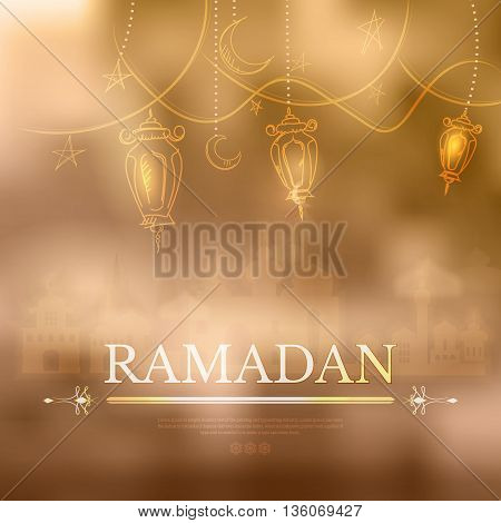 Ramadan Kareem islamic background outline Lamp sketch and silhouette mosque. Hanging illuminated lamp in contour, mosque and bokeh. Yellow blurred background with silhouette of mosque and simple text
