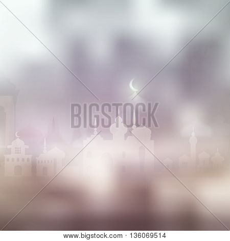 Ramadan Kareem islamic background with moun and silhouette mosque. Arabic vector Lamp on shiny abstract background for Ramadan Kareem. Silhouette mosque, light, blur and bokeh