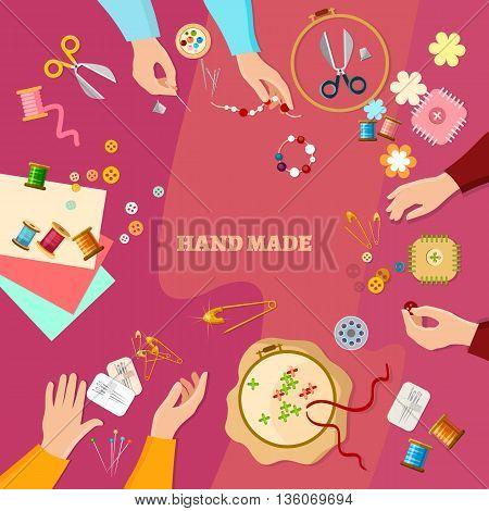 Tailor seamstress needlework fashion designer lessons team hands vector illustration