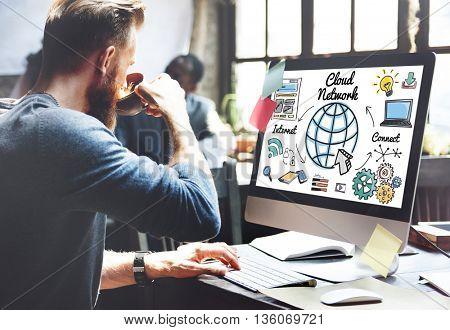 Cloud Network Communication Connection Globalization Concept