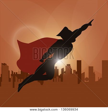 Superhero concept represented by male cartoon with disguise over city design. Colorfull and flat illustration