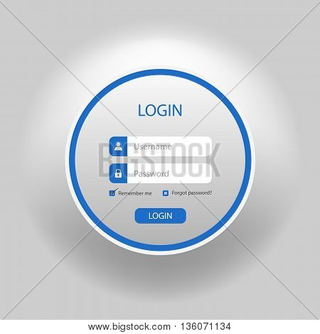 Login web blue round screen template vector eps 10