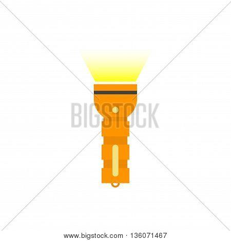 Flashlight isolated vector icon, flat orange pocket flashlight with yellow beam illustration on white background
