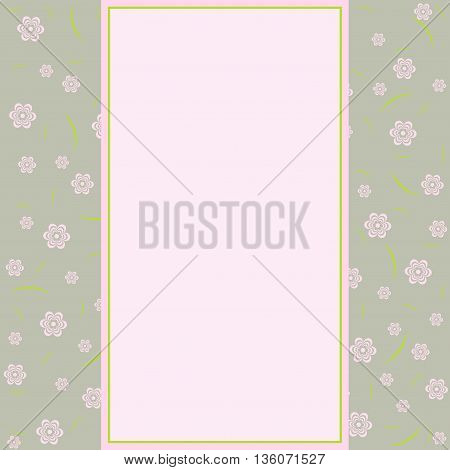 Vector vintage styled card with floral ornament background.