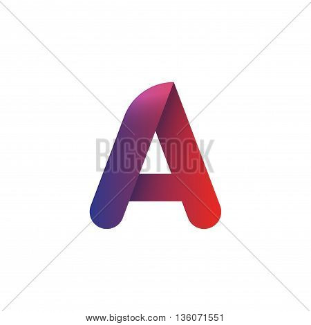 Letter a logo vector element template, violet to red gradient rounded a letter logotype with shadow isolated on white background, creative symbol design