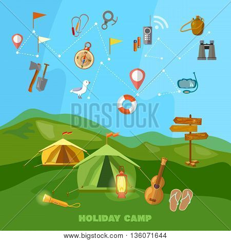 Camping collection outdoor elements hiking tourism and travel vector illustration