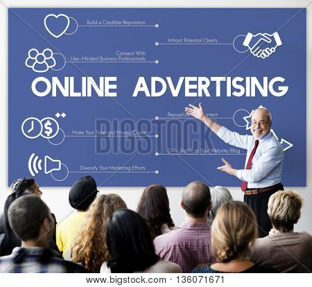 Online Advertising Marketing Connecting Concept