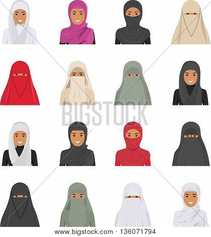 Detailed illustration of different arab woman avatars icons set in the traditional national muslim arabic clothing isolated on white background in flat style.