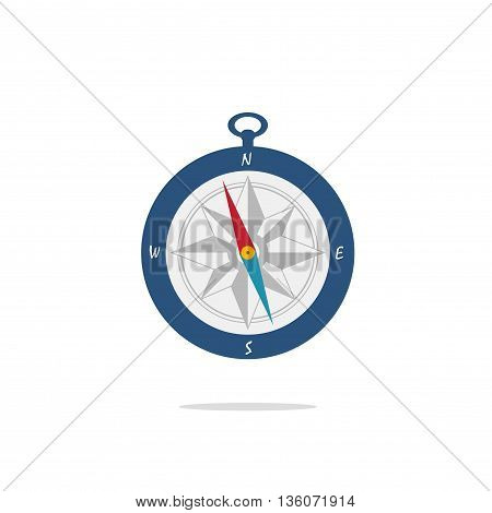 Compass vector illustration isolated on white background, flat blue pocket compass icon with arrow