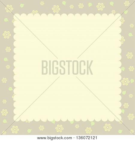 Vintage styled card with floral ornament background.