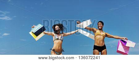 Girls Friendship Beach Summer Sale Shopping Bag Concept