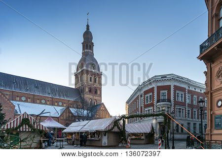 RIGA, LATVIA - DECEMBER 30 2015: DOMA square at Christmas Holidays