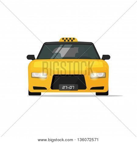 Taxi car isolated on white background vector illustration, flat luxury taxi cab front view