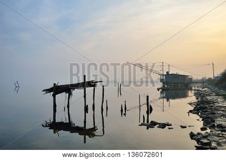 Fishing house in Comacchio Italy in autumn