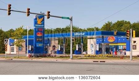DARTMOUTH CANADA - JUNE 26 2016: Ultramar is an Eastern Canada fuel retailer. Ultramar has fuel stations in Ontario Quebec New Brunswick Nova Scotia PEI and Newfoundland.