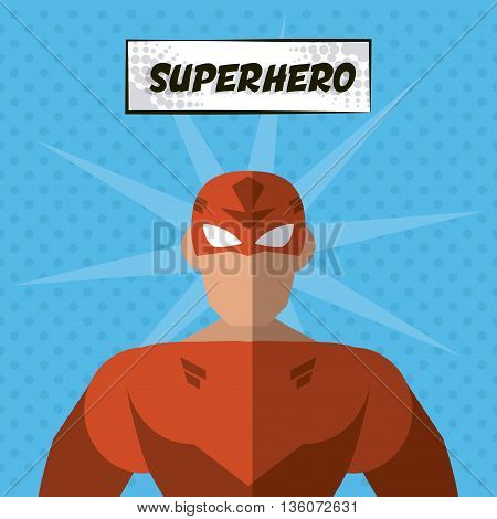 Superhero concept represented by male cartoon with disguise. Colorfull and flat illustration. Blue background