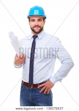 Young Architect With Hard Hat And Plan On White Background