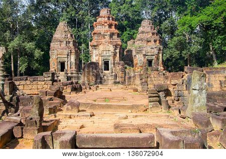 Bakong temple mountain at Angkor in Cambodia