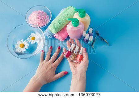 Manicure With Many Color Gel Nail Polish