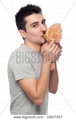 Man Kissing Teddy Bear