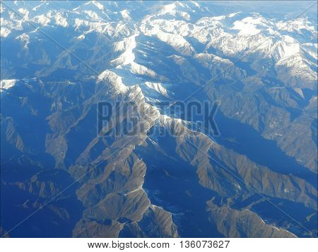 French Alps mountain with the bird's eye view