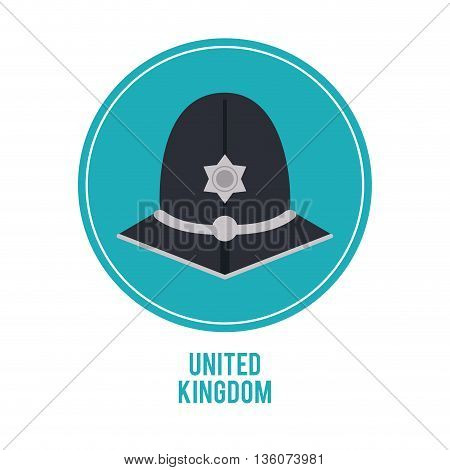 United kingdom concept represented by police hat over blue circle icon. isolated and flat illustration