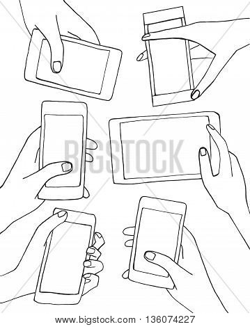 Set Of Hands With Mobile Phone Smartphone