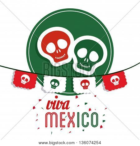Mexico culture concept represented by skull over seal stamp icon. Colorfull and flat illustration