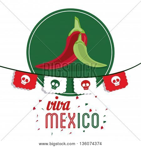 Mexico culture concept represented by pepper over seal stamp icon. Colorfull and flat illustration
