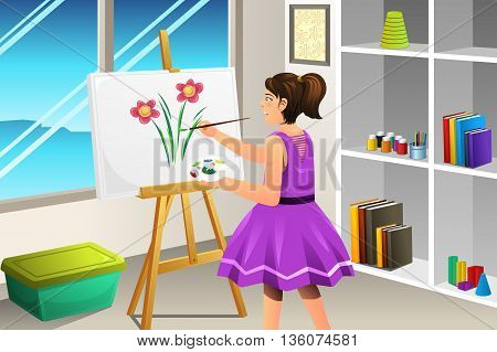 A vector illustration of a girl painting on a canvas