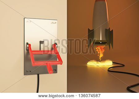 Startup concept with abstract launching rocket ship connected to turned down lever switch on brown background. 3D Rendering