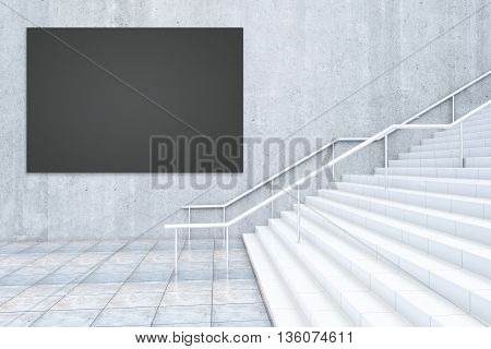 Black Billboard And Staircase