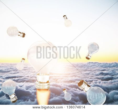 Creative business start up idea concept with abstract rocket fire lightbulbs in sky with clouds and setting sun. 3D Rendering
