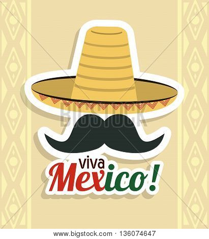 Mexico culture concept represented by hat with mustache icon. Colorfull and flat illustration